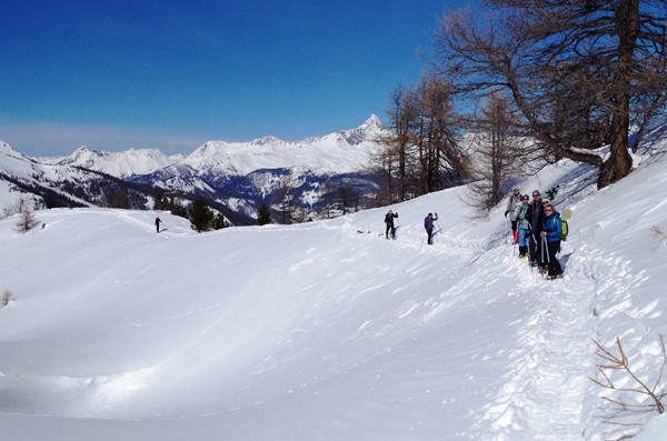 guided winter snow shoeing holiday french alps
